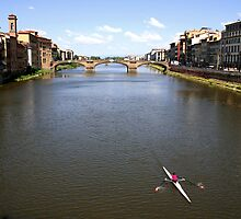 Arno River from the Ponte Vecchio - Florence by Peggy Berger