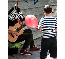 Kid with the Red Baloon Sees a Zebra Photographic Print