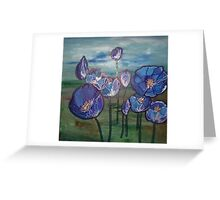 Eclipse Mint Blue & Green Flowers Greeting Card