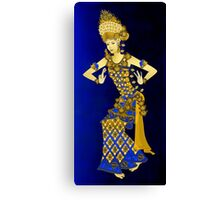 Balinese Dancer & Frangipani (Blue-Brown) Canvas Print