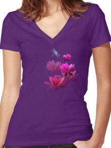Water lilies Women's Fitted V-Neck T-Shirt