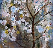 Cherry Blossoms Pink and Blue by sherischart