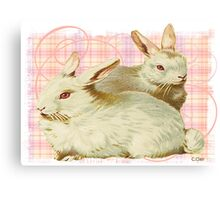 Pink White Sweet Bunny Rabbit Canvas Print
