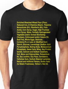 Twinkie ingredients (yellow text on dark color shirts) T-Shirt