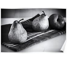 pears in black and white Poster