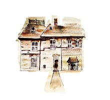 Houses quirky illustration watercolor  by Marie Charrois