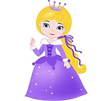Cute Princess in a violet dress Photographic Print
