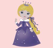 Cute Princess in a violet dress Kids Tee