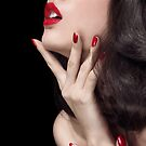Young woman with red lipstick sensual closeup of mouth art photo print by ArtNudePhotos