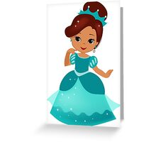 African American  Princess in a turquoise dress Greeting Card