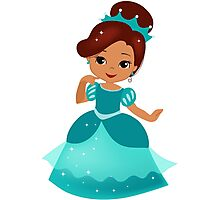 African American  Princess in a turquoise dress Photographic Print