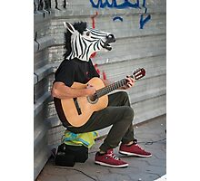 Zebra with a Guitar Photographic Print