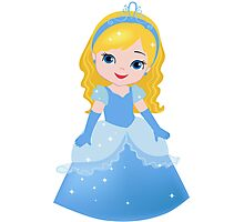 Cute Princess Cinderella in a blue dress Photographic Print