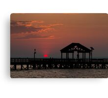 Sun Peeking over Pier 2 Canvas Print