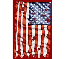 American flag with bullet holes Photographic Print