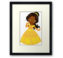African American Beautiful Princess in a yellow dress Framed Print