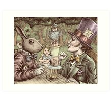 alice at the mad tea party Art Print