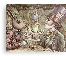 alice at the mad tea party Metal Print