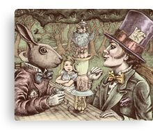 alice at the mad tea party Canvas Print