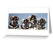 Puppies to the power of four. Greeting Card