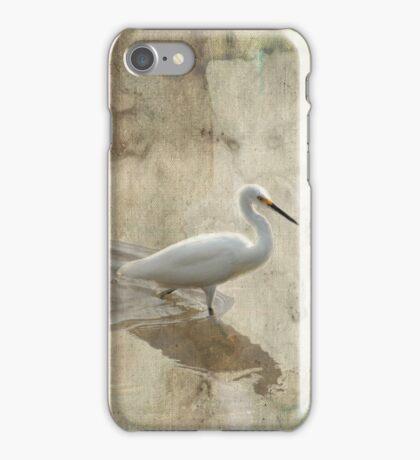 Snowy Egret in Grunge iPhone Case/Skin
