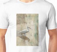 Snowy Egret in Grunge Unisex T-Shirt