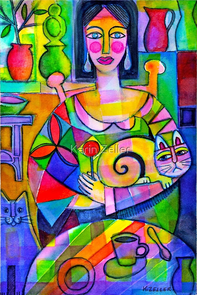 Lady with cats by Karin Zeller