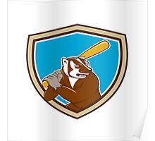 Badger Baseball Player Batting Shield Cartoon Poster
