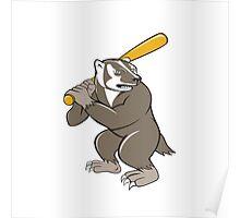 Badger Baseball Player Batting Isolated Cartoon Poster