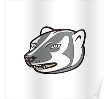 Badger Head Side Isolated Cartoon Poster