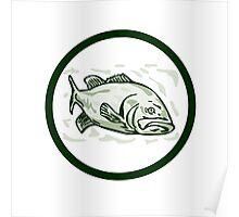 Largemouth Bass Fish Front Side Circle Cartoon Poster