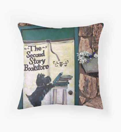 Second Story Bookstore Throw Pillow