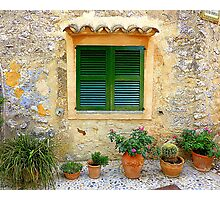 The Green Shutter With Pots...............................Majorca Photographic Print