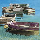 Seven working boats by Freda Surgenor