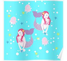 Mermaids in blue Poster