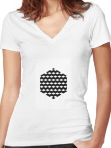 Black Hexagon with 3D Cubes Women's Fitted V-Neck T-Shirt