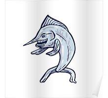 Blue Marlin Fish Isolated Cartoon Poster