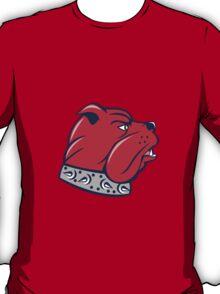 Red Bulldog Head Isolated Cartoon T-Shirt