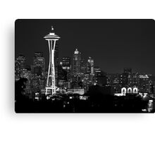 Downtown Seattle at Night (Black and White) Canvas Print