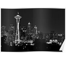 Downtown Seattle at Night (Black and White) Poster