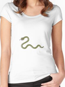 Serpent Coiling Side Isolated Cartoon Women's Fitted Scoop T-Shirt