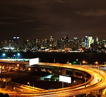 NYC Skyline Cityscape at Night over Hudson river. by upthebanner