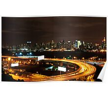 NYC Skyline Cityscape at Night over Hudson river. Poster