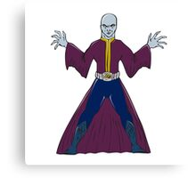 Bald Sorcerer Casting Spell Isolated Cartoon Canvas Print