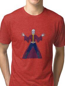 Bald Sorcerer Casting Spell Isolated Cartoon Tri-blend T-Shirt