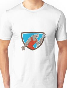 Wolf Mechanic Spanner Shield Cartoon Unisex T-Shirt