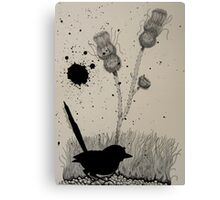 Wren and thistles Canvas Print