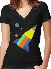 pencil rocket Women's Fitted V-Neck T-Shirt