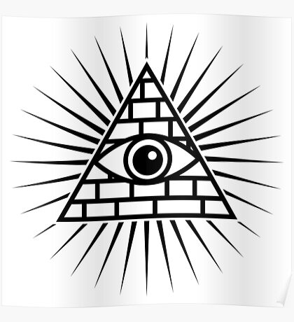 Black Hipster Illuminati all seeing eye Poster