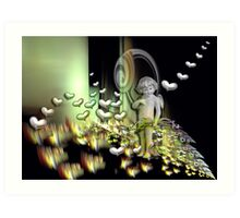 Cupid's magical world Art Print